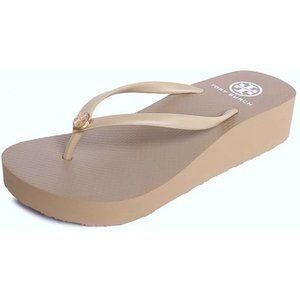 Tory Burch Wedge Flip-Flops Khaki Platform Sandals